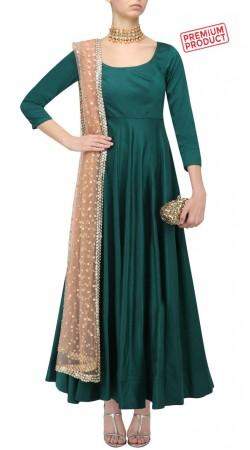 Bottle Green Silk Ankle Length Anarkali Suit SUMS29421