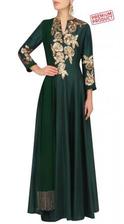Bottle Green Silk Floral Sequins Work Anarkali Suit SUMS27621