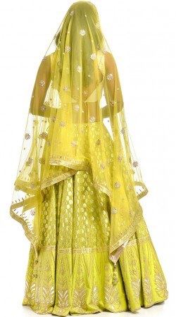 Lime Green Chanderi Lehenga Choli With Matching Dupatta BP3034