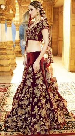 Bridal Lehenga Choli In Maroon Color And Velvet Fabric 2WV551314