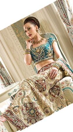 IBRSWL78 Ivory and Turquoise Wedding Lehnga