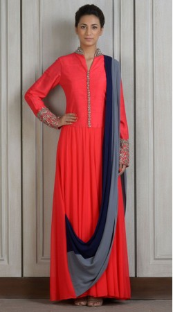 Bright Red Georgette Floor Length Anarkali Suit With Dupatta SUUDS27704