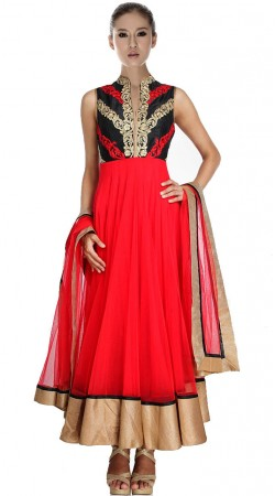 Bright Red Net Ankle Length Anarkali Suit SU1101