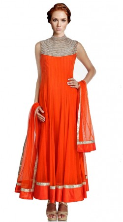 Bright Red Net Ankle Length Anarkali Suit SU3101