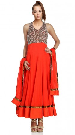 Bright Red Net Ankle Length Anarkali Suit SU3301