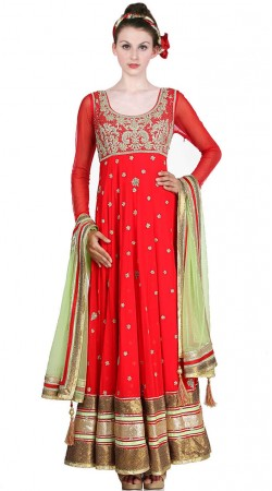 Bright Red Net Ankle Length Anarkali Suit SU3401
