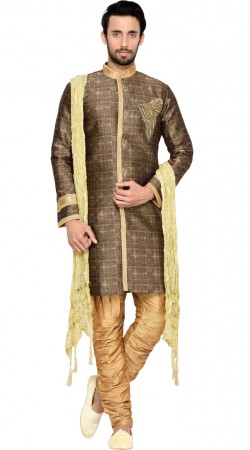 Brocade Brown Men Indo Western Sherwani GR144109