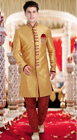 Brocade Golden Indo Western Sherwani 3FD8413205