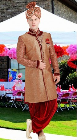 Brown Brocade Jamawar Groom Sherwani 3FD8413905