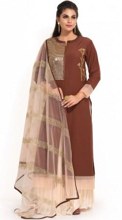 Brown Georgette Plus Size Salwar Kameez SUMS34124