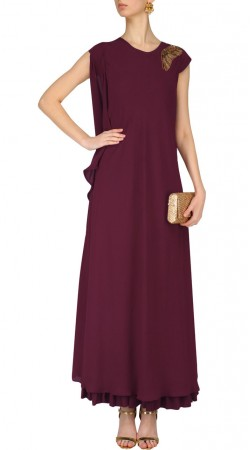 Burgundy Georgette Designer Gown Style Suit SUMS35224