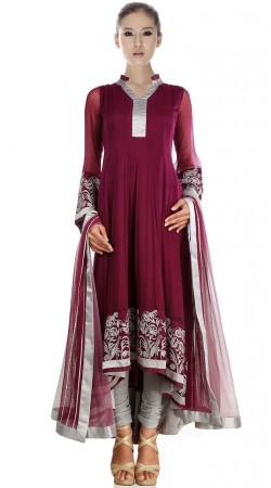 Burgundy Net Long Tail Anarkali Suit SU2301
