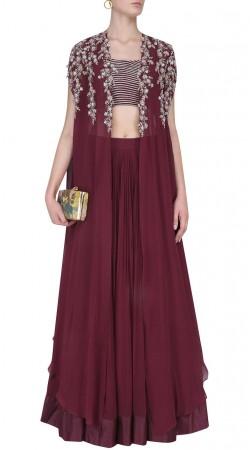 Burgundy Silk Designer Crop Top Lehenga SUUDL31731
