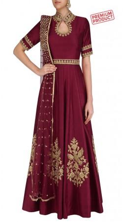 Burgundy Silk Embroidery Work Plus Size Salwar Kameez SUMS32721