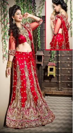 Charming Red Net Semi Bridal Lehenga Choli With Dupatta LD001805