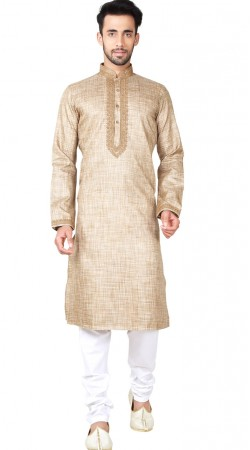 Chikoo Linen Cotton Kurta Pajama For Men GR149517