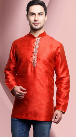 Chinese Collar Style Red Banarasi Tassar Silk Men Short Kurta DTDK263