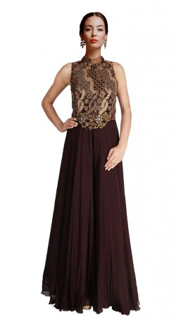 Chocolate Brown Crush yoke Embroidered Floor Length Anarkali Suit SUUDS29004