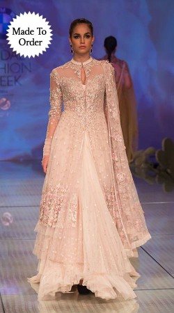 Classy Baby Pink Net Designer Replica Embroidered Floor Length Gown BP1408