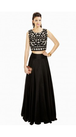 Classy Black Chanderi And Cotton Silk Designer Crop Top Lehenga SUUDL5714