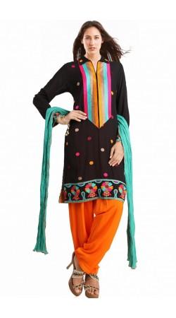 Classy Black Georgette Ready Made Salwar Kameez With Dupatta SUMS2312