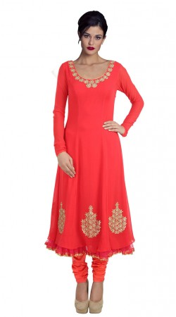 Classy Bright Red Georgette Embroiered Long Churidar Kameez SUUDS28804