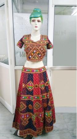 Classy Cotton Multi Color Jaipuri Work Traditional Garba Dance Lehenga 2BR651258