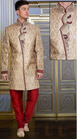 Classy Cream Brocade Embroidered Wedding Sherwani DTWSH335