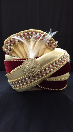 Classy Cream Georgette Red Velvet Wedding Turban For Groom DTT1735