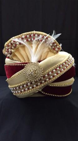 Classy Cream Georgette Red Velvet Wedding Turban For Groom DTT1735