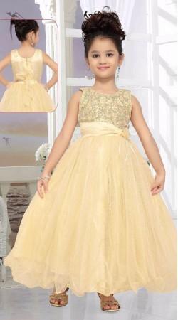 Classy Cream Net Designer Readymade Kids Gown DT50942