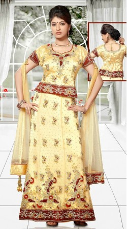 Classy Cream Net Embroidered Lehenga Choli With Dupatta DT90239