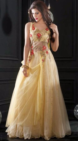 Classy Cream Net Resham Embroidered Indowestern Gown
