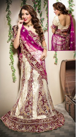 Classy Cream Net Semi Bridal Lehenga Choli With Purple Dupatta LD00905