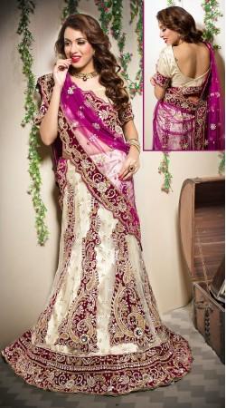 Classy Cream Net Semi Bridal Lehenga Choli With Purple Dupatta LD00905