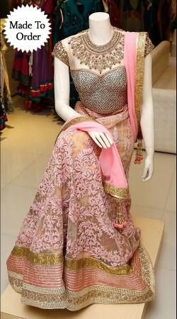 Classy Cream Premium Fabric Designer Replica Lehenga Choli BP0608
