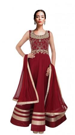 Classy Dark Red Net Floor Length Anarkali Suit With Dupatta SUUDS27804