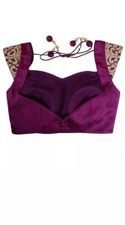 Classy Dori Work Purple Premium Fabric Designer Blouse For Saree BP5009