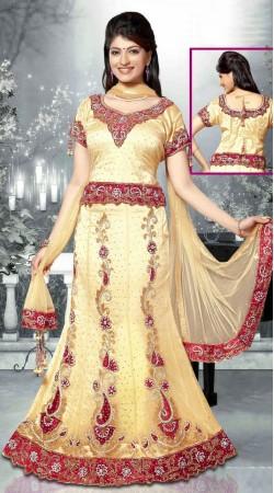 Classy Embroidered Cream Net Wedding Lehenga Choli With Dupatta DT90639