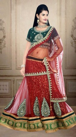 Classy Embroidered Red Net Wedding Lehenga Choli With Dupatta DT901134