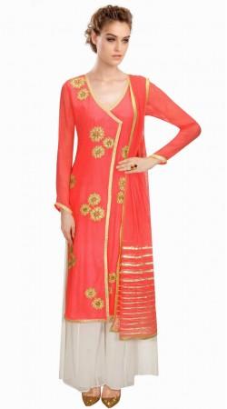 Classy Floral Embroidered Pink Georgette IndoWestern Salwar Kameez SUMA4509