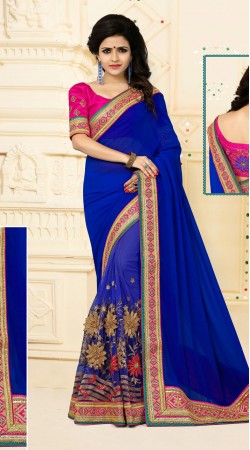 Classy Floral Work Blue Digital Net Saree With Catatonic Georgette Palla VB11134D29
