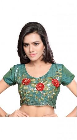 Classy Full Embroidered Rama Green Art Silk Designer Blouse BPMS2312