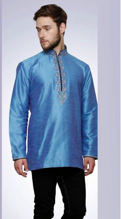 Classy Golden Chinese Collar Style Sky Blue Dupian Silk Men Short Kurta DTGK459