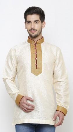 Classy Golden Chinese Collar White Kela Resham Brocade Men Short Kurta DTMK1147