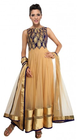 Classy Golden Cream Yoke Embroidered Net Ankle Length Anarkali Suit SUUDS28604