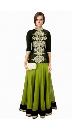 Classy Green And Black Silk Long Choli Lehenga SUUDL6214