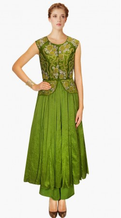Classy Koti Embroidered Style Green Silk Indo Western Salwar Kameez SUMA909