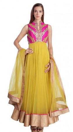 Classy Light Yellow Net Golden Border Exclusive Salwar Kameez SU21311