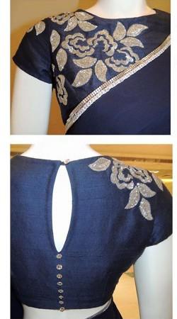 Classy Navy Blue Premium Fabric Designer Blouse For Saree BP1409
